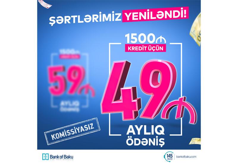 Bank of Baku ŞƏRTLƏRİ YENİLƏDİ: İndi 1500 AZN Kredit 49 manat ödənişlə və KOMİSSİYASIZ!