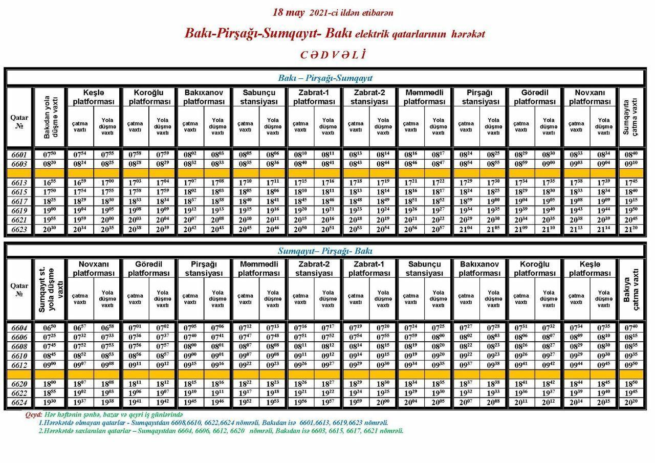 Электрички Баку-Сумгайыт меняют график движения