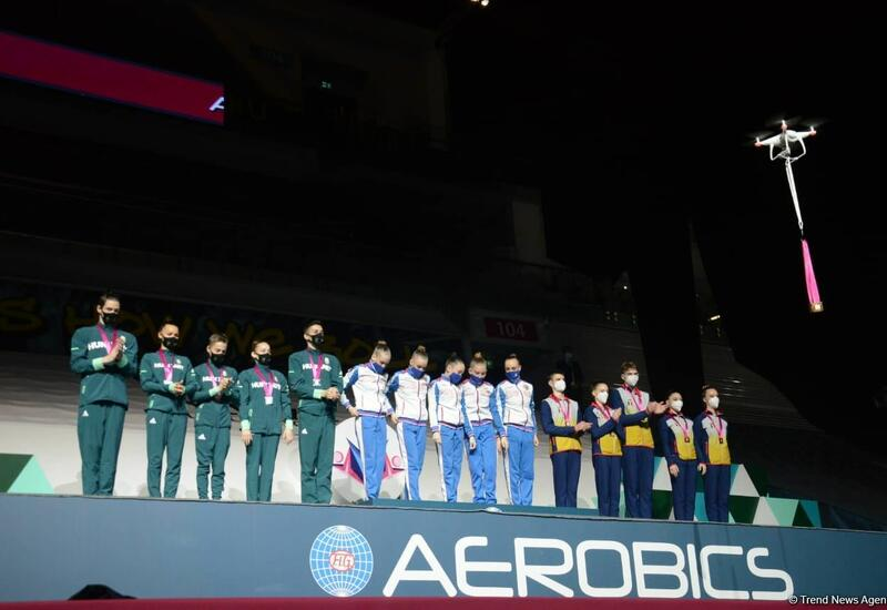 В Баку состоялась церемония награждения победителей Всемирных соревнований по аэробной гимнастике среди групп