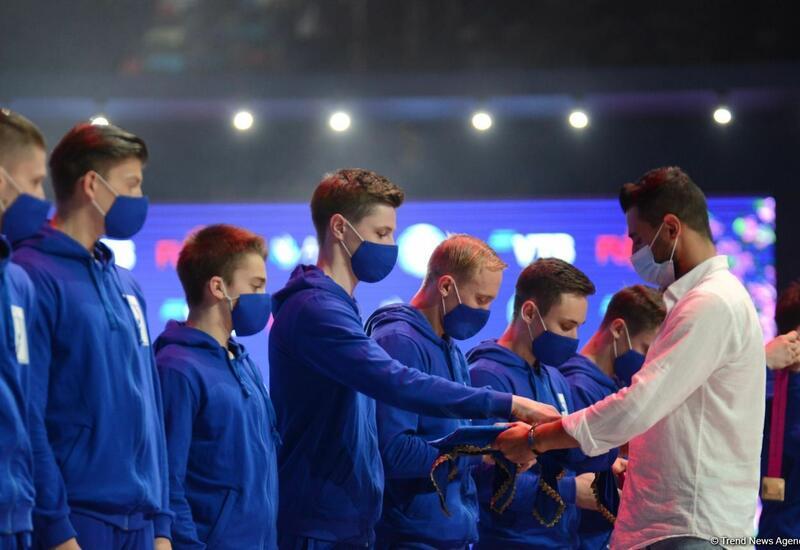 В Баку состоялась церемония награждения победителей ЧМ по аэробной гимнастике в командном зачете