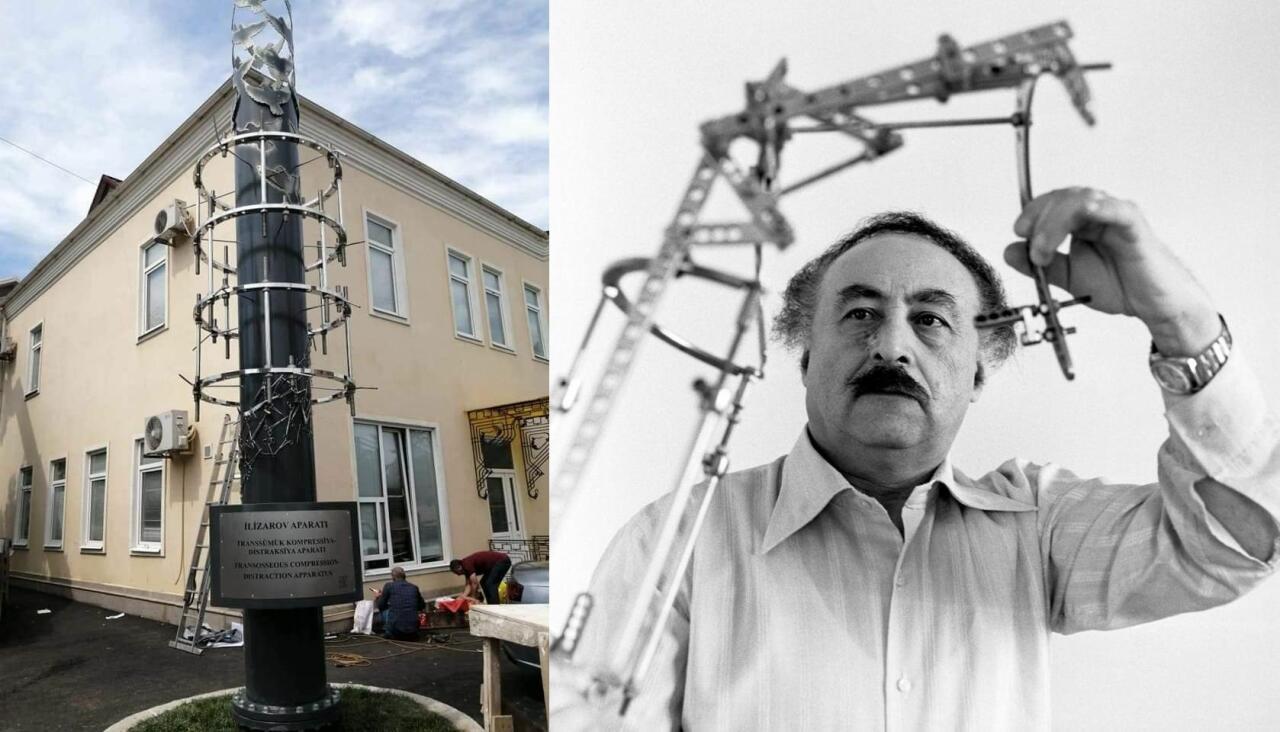 В Гусары установлен оригинальный памятник аппарату Илизарова весом в 2 тонны