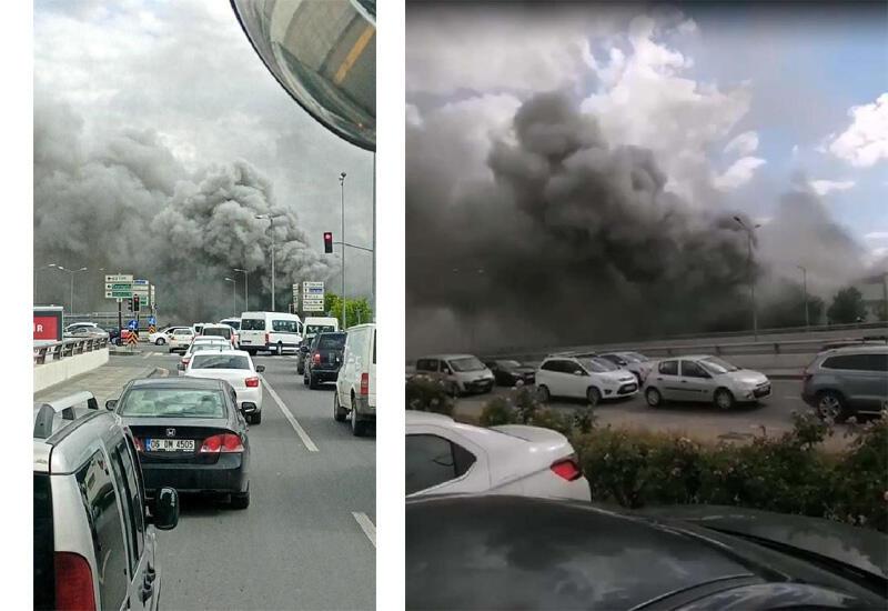 Сильный пожар на фабрике в Анкаре