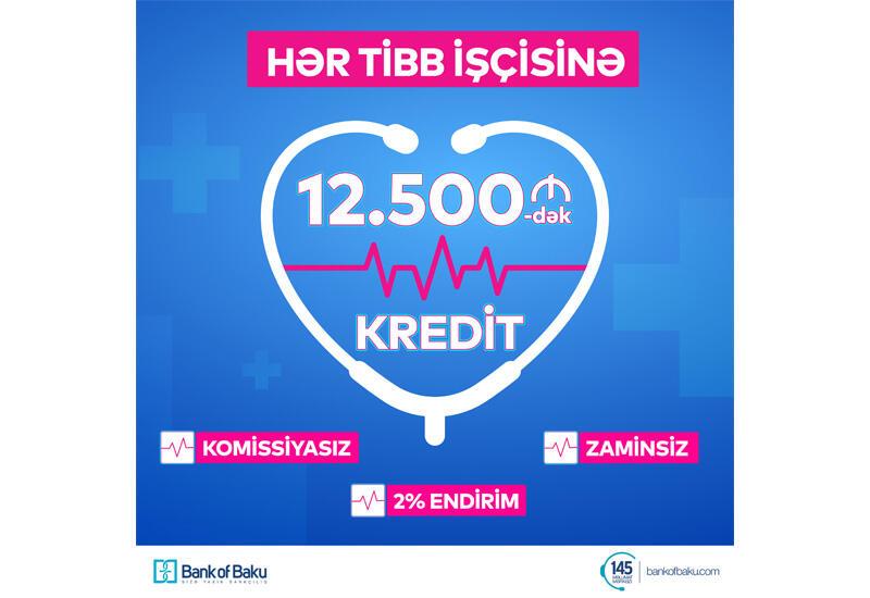Bank of Baku-dan Tibb İşçilərinə 12.500 AZN-dək Kredit: 2% ENDİRİMLƏ, KOMİSSİYASIZ və ZAMİNSİZ!