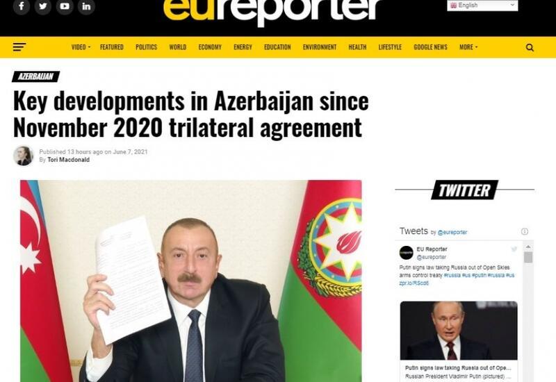 Влиятельное европейское издание рассказало об успехах Азербайджана за первые 200 послевоенных дней