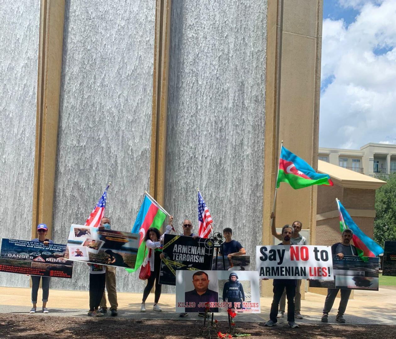 Акция протеста в США против непредоставления Арменией Азербайджану карт минных полей