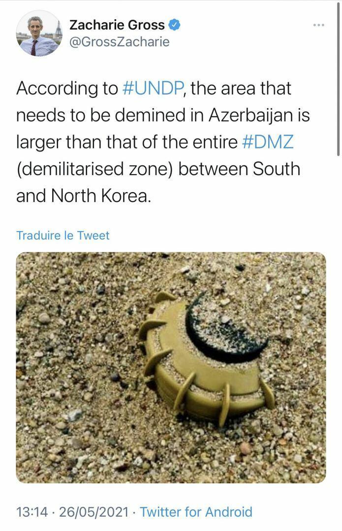 Париж должен помочь Баку в разминировании освобожденных земель