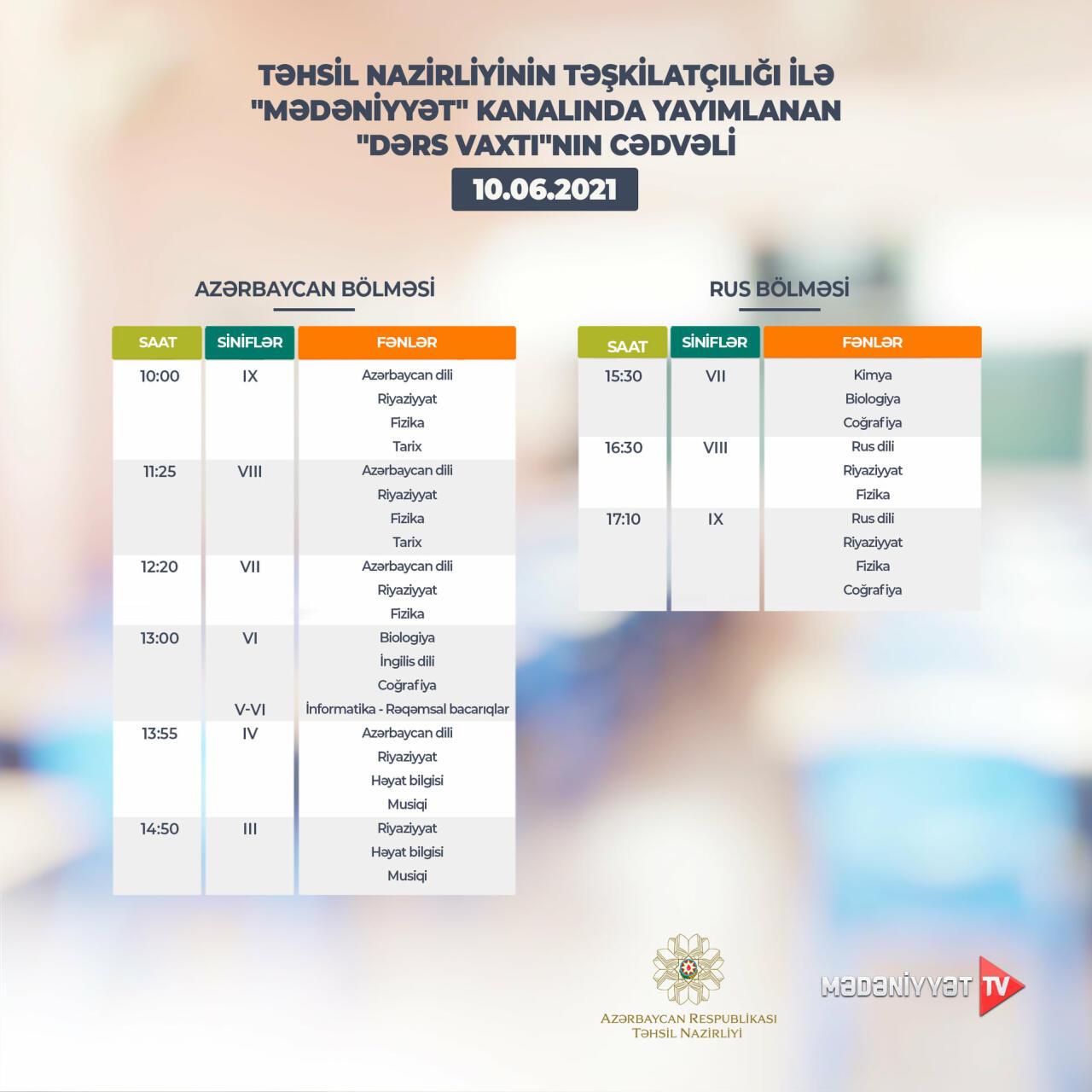 Расписание телеуроков на 10 июня