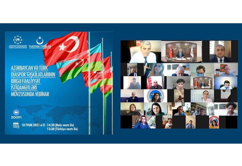 """Проведен вебинар на тему """"Направление совместной деятельности азербайджанских и турецких диаспорских организаций"""""""
