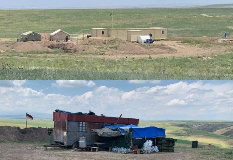 Посты азербайджанской и армянской армии на границе