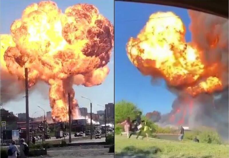 Сильный взрыв на АЗС в Новосибирске