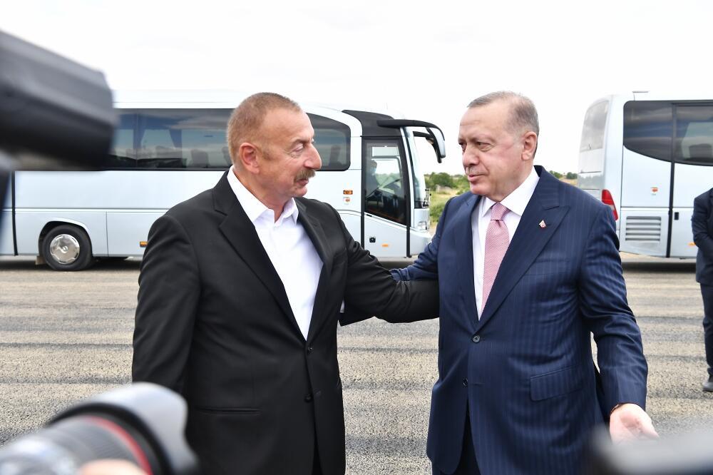 Президент Ильхам Алиев встретил Президента Турции Реджепа Тайипа Эрдогана в Физулинском районе