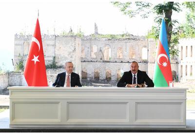 Президенты Азербайджана и Турции выступили с заявлениями для печати - ФОТО - ВИДЕО
