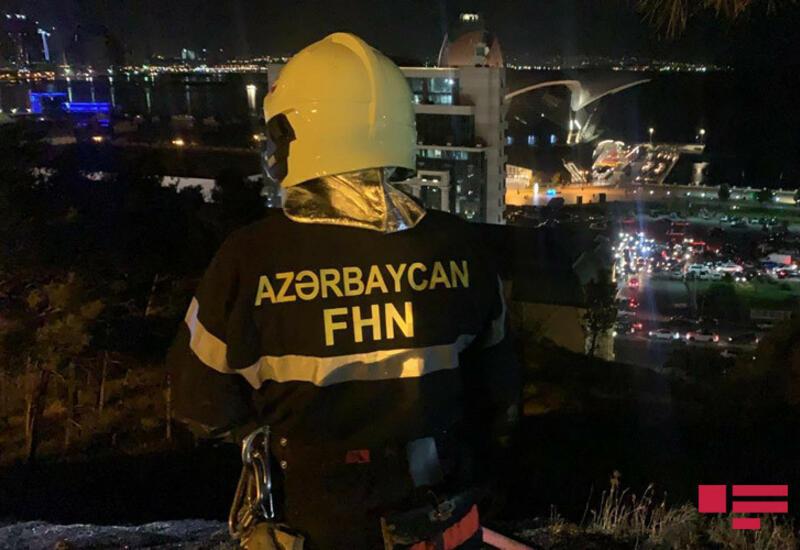 Пожар в Нагорном парке в Баку