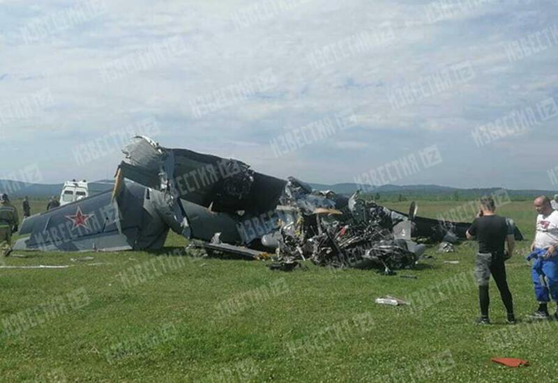 Первое видео с места крушения самолета в России