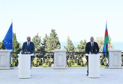 Состоялась совместная пресс-конференция Президента Ильхама Алиева и Президента Совета Европейского Союза Шарля Мишеля - ФОТО - ВИДЕО