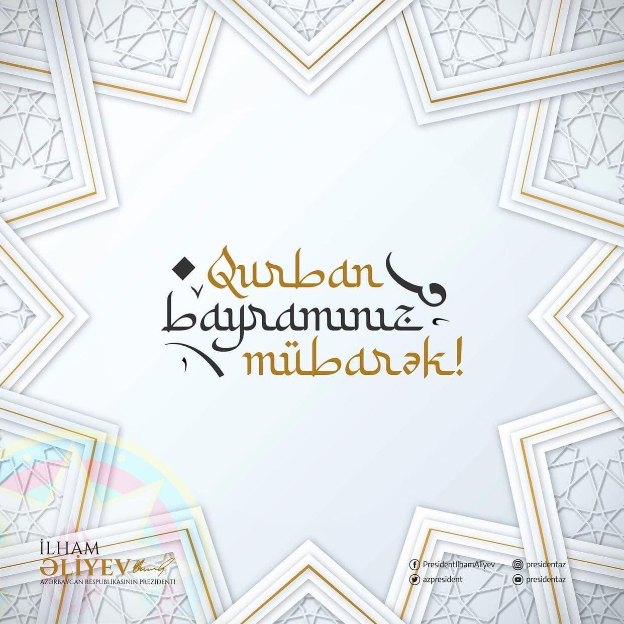 На официальной странице Президента Ильхама Алиева в Twitter размещена публикация в связи с Гурбан байрамы