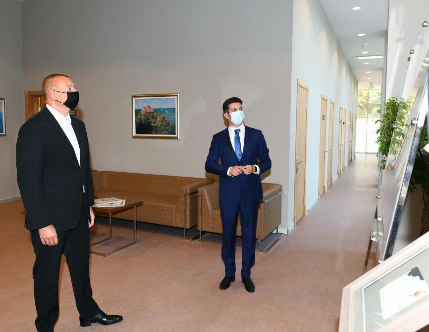Президент Ильхам Алиев принял участие в открытии Нафталанского центрального санатория