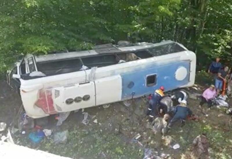 В Краснодарском крае туристический автобус съехал в кювет, много пострадавших