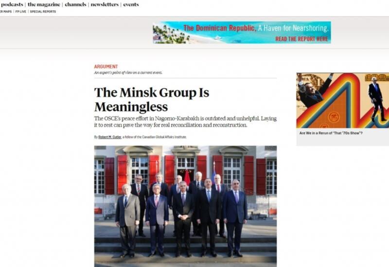 """""""Foreign Policy"""" nəşri: ATƏT-in Minsk qrupunun fəaliyyəti mənasızdır"""