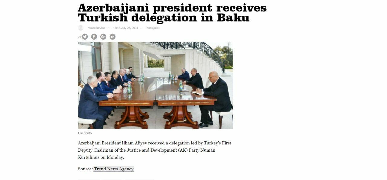 Новости АМИ Trend на английском языке будут публиковаться на сайте влиятельной турецкой газеты Yenişafak