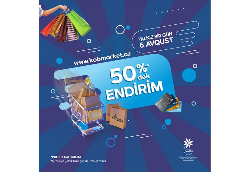 www.kobmarket.az onlayn satış portalında 50%-ə qədər endirim tətbiq olunacaq