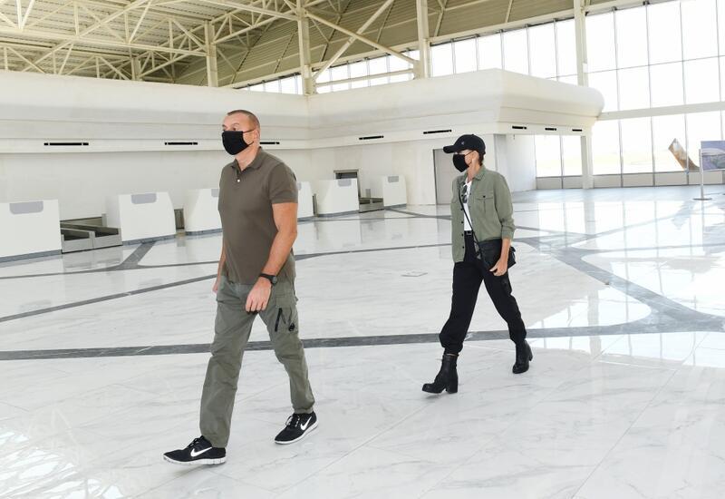 Президент Ильхам Алиев и Первая леди Мехрибан Алиева ознакомились с работой, проделанной в Физулинском международном аэропорту