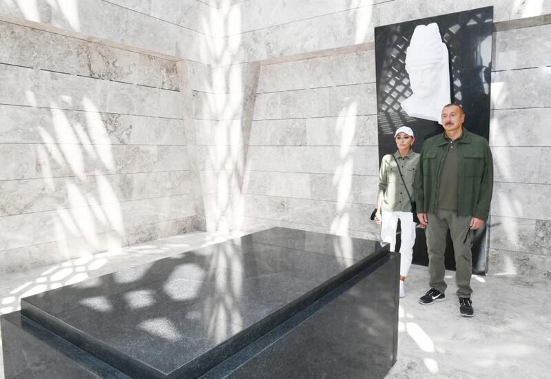 Президент Ильхам Алиев и Первая леди Мехрибан Алиева приняли участие в открытии после восстановления комплекса музея-мавзолея гениального азербайджанского поэта Моллы Панаха Вагифа