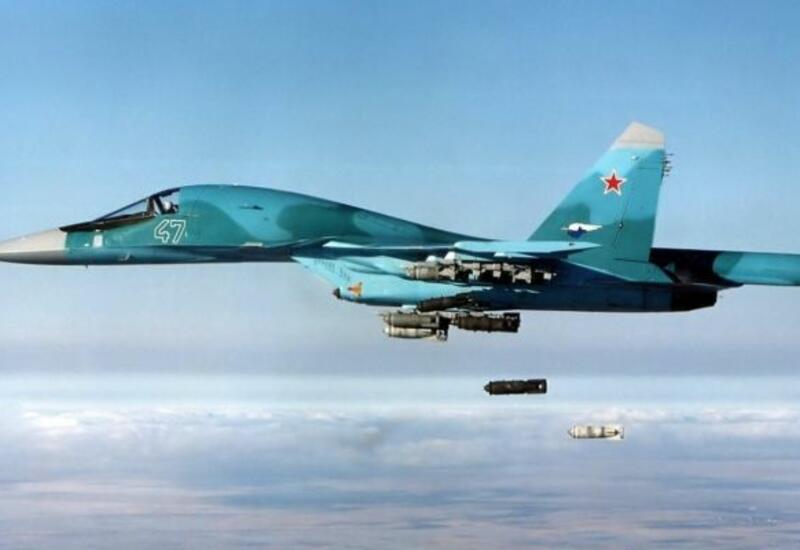 Российские Су-34 нанесли мощный удар по объектам условного противника на полигоне