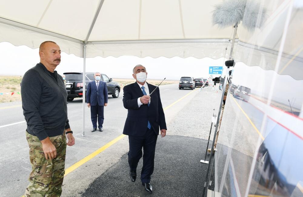 Президент Ильхам Алиев принял участие в открытии автомобильных дорог, ведущих в поселок Суговушан и село Талыш Тертерского района