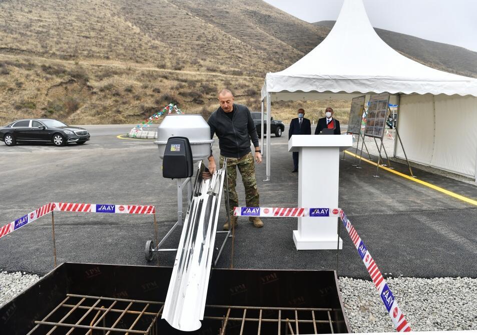 Президент Ильхам Алиев заложил фундамент автомобильной дороги Талыш-Тапгарагоюнлу-Гашалты-Нафталан