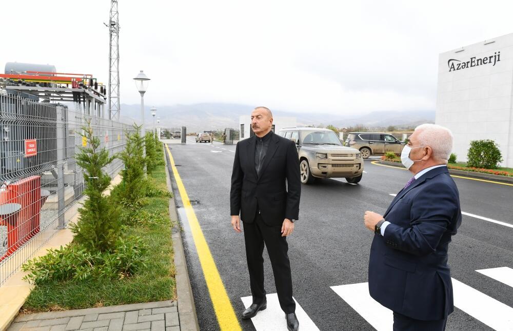 """Президент Ильхам Алиев принял участие в открытии подстанции """"Джебраил"""""""