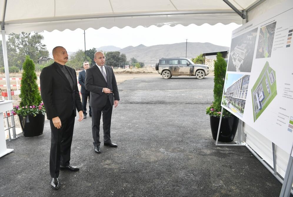 Президент Ильхам Алиев заложил фундамент Центральной больницы в Джебраиле