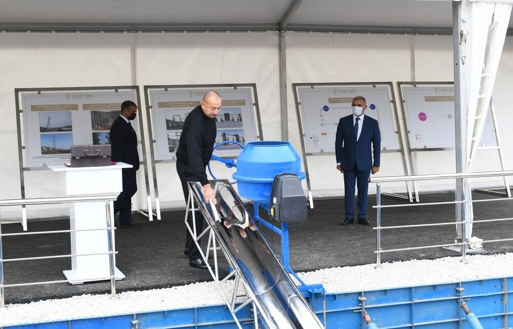 """Президент Ильхам Алиев заложил фундамент новой 35-киловольтной подстанции """"Гадрут"""""""