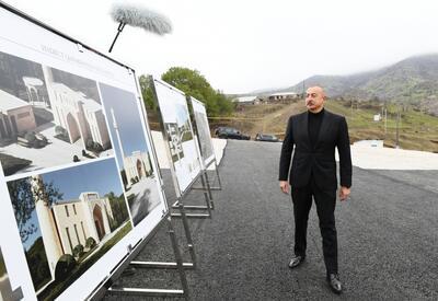 Президент Ильхам Алиев заложил фундамент новой мечети в поселке Гадрут - ФОТО - ВИДЕО