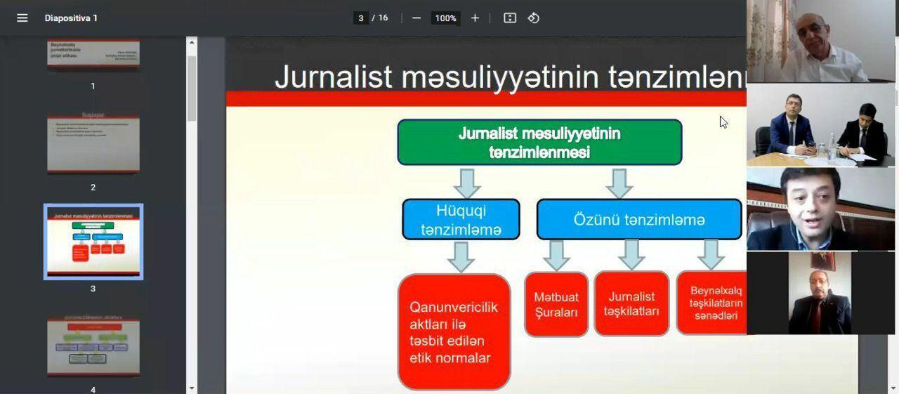 """Medianın İnkişafı Agentliyində """"Media etikası - jurnalist peşəkarlığının əsas prinsipidir"""" mövzusunda onlayn konfrans keçirilib"""