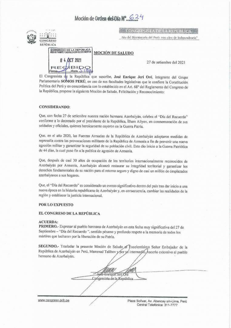 Peru Konqresində 27 sentyabr – Anım Günü ilə bağlı bəyanat qəbul edilib