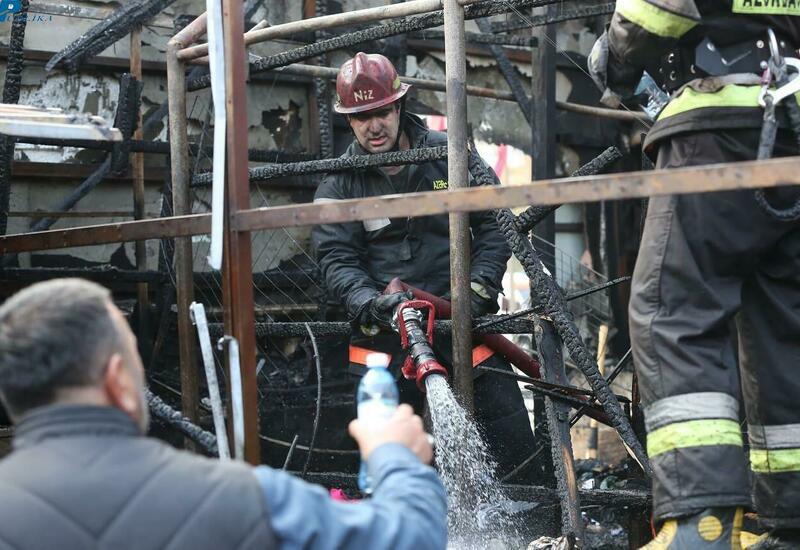 Сгоревшие дотла объекты в Баку