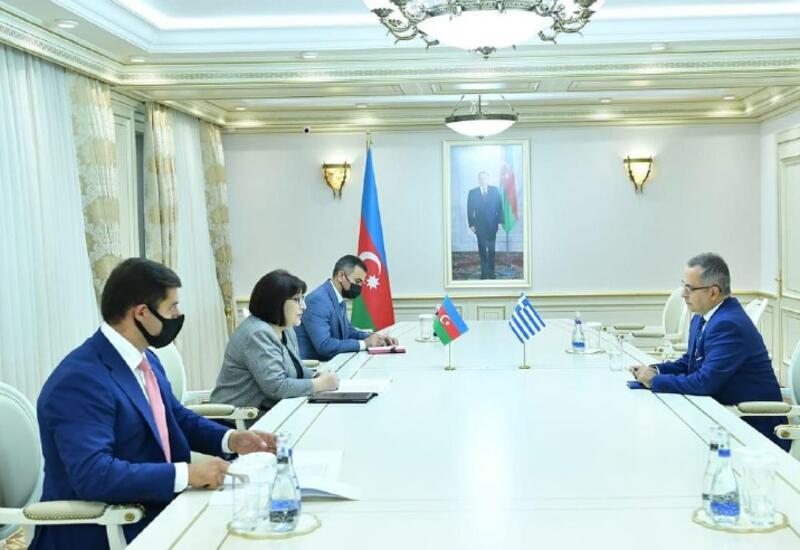 Сахиба Гафарова встретилась с послом Греции в Азербайджане