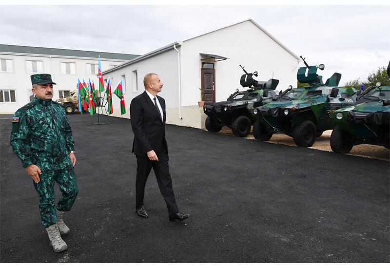 Президент Ильхам Алиев и Первая леди Мехрибан Алиева ознакомились с условиями, созданными в воинской части ГПС в Зангилане
