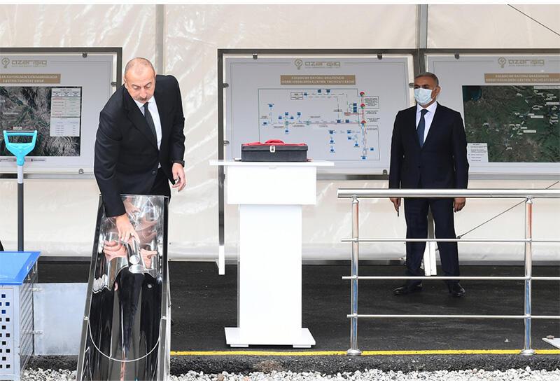 Президент Ильхам Алиев и Первая леди Мехрибан Алиева приняли участие в церемонии закладки фундамента цифровой подстанции в Зангилане