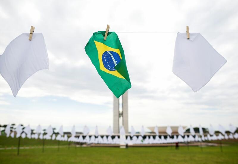 Акция памяти жертв коронавируса COVID-19 в Бразилии