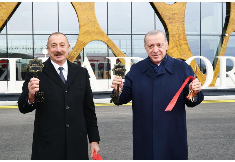Prezident İlham Əliyev və Rəcəb Tayyib Ərdoğan Füzuli Beynəlxalq Hava Limanının rəsmi açılışını ediblər