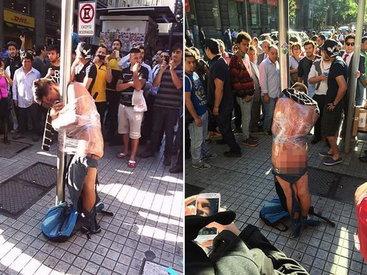 В Чили вора, ограбившего старушку, привязали к позорному столбу - ФОТО