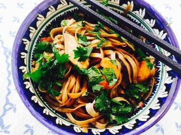 Гречневая лапша с грибами шиитаке и креветками - Пошаговый рецепт - ФОТО