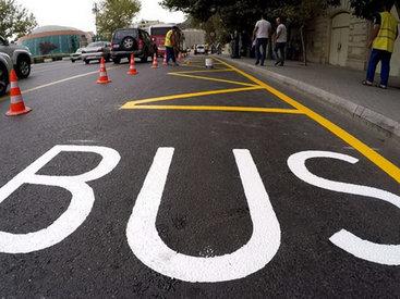 Новая разметка для автобусов на дорогах Баку - ФОТО - ВИДЕО