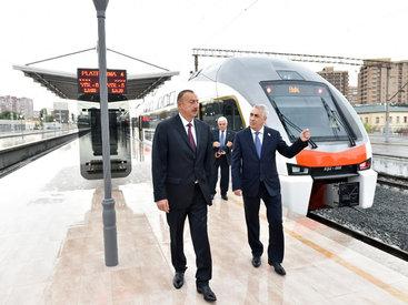 Президент Ильхам Алиев принял участие в церемонии отправки первого пассажирского поезда Баку-Сумгайыт - ФОТО