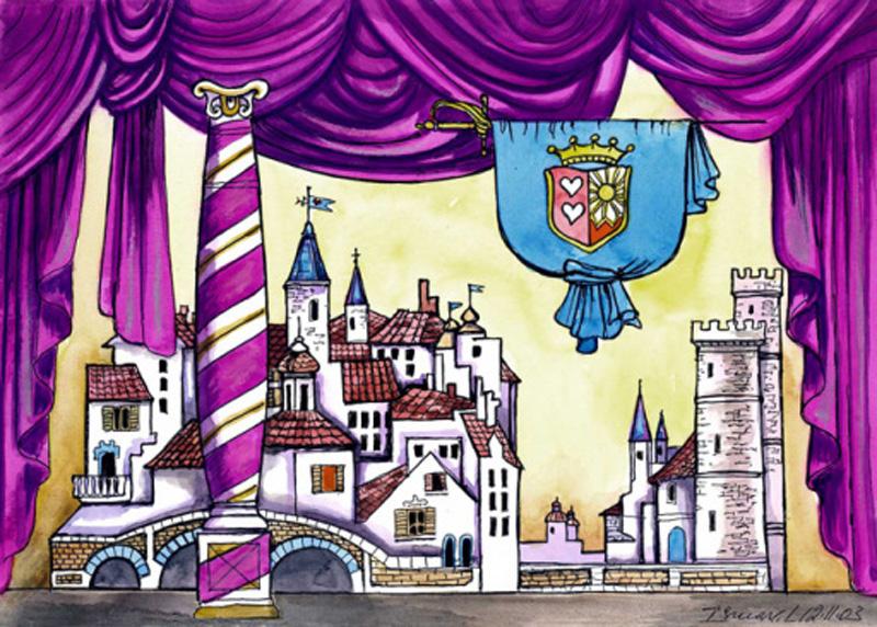 рисунки сцена театра с декорациями
