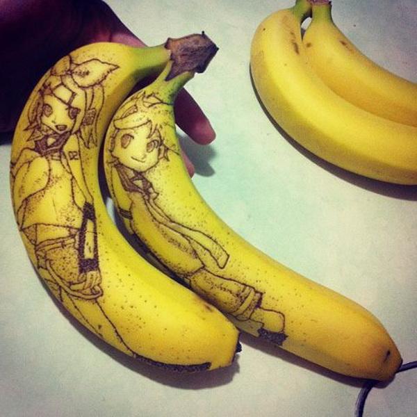 Смешные рисунки на банане, открытки