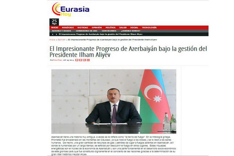 Eurasia Hoy: Впечатляющий прогресс Азербайджана при администрации Президента Ильхама Алиева - ФОТО