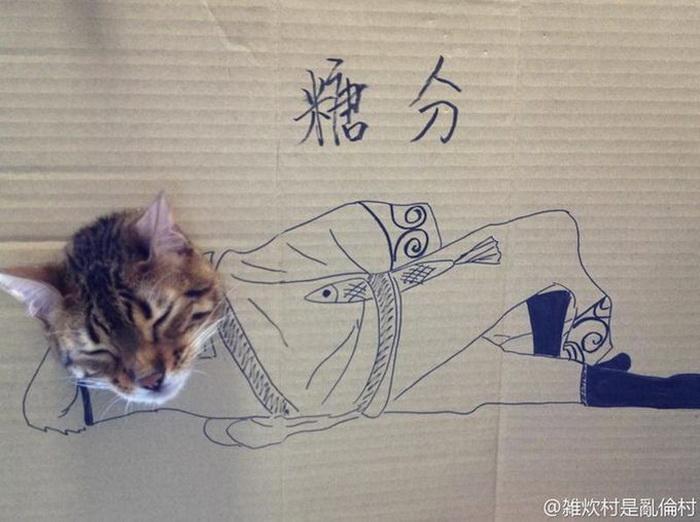 Забавный картонный косплей одной кошки - ФОТО